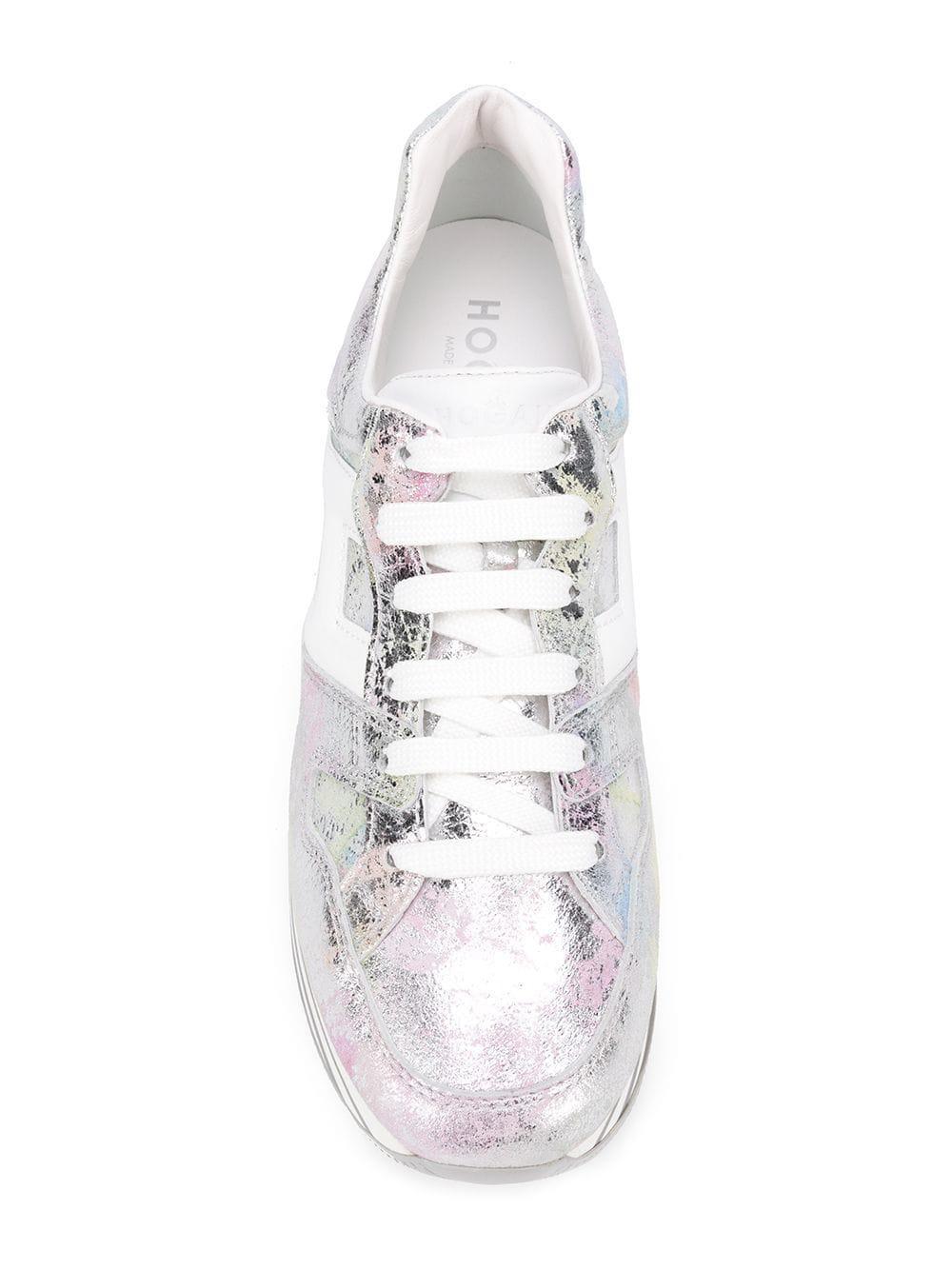 Hogan Leather Maxi H22 Platform Sneakers in Silver (Metallic) - Lyst