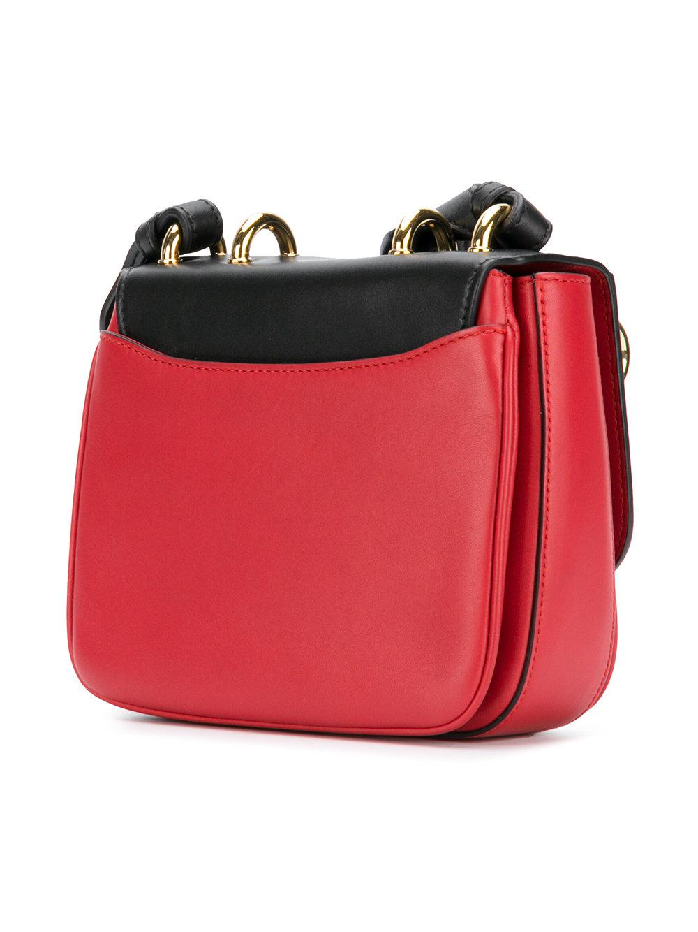 Balmain Leather Contrast Strap Cross Body Bag in Red