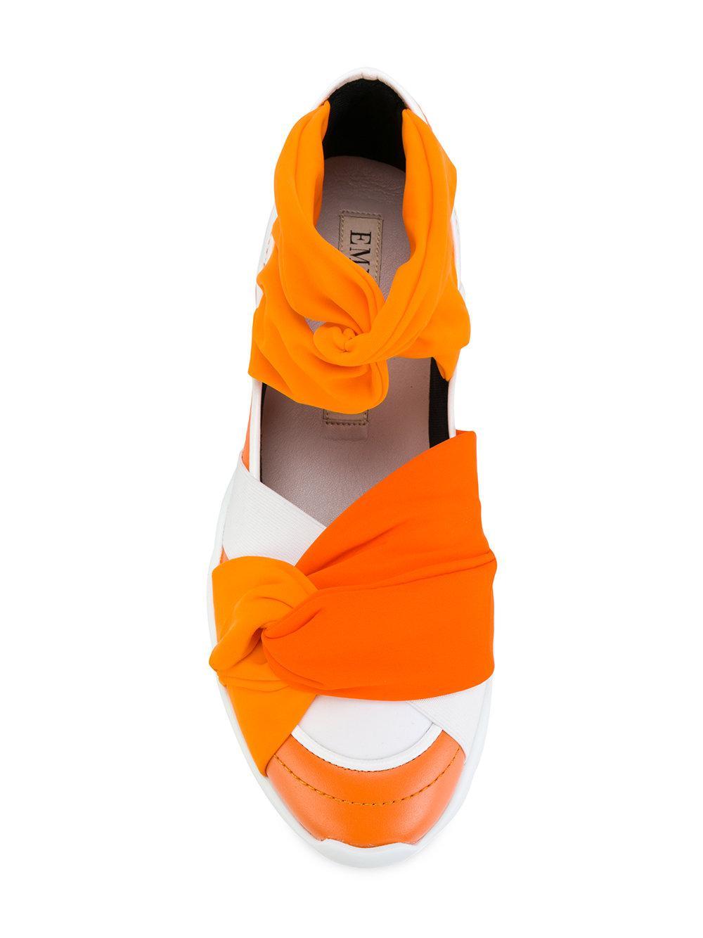 Emilio Pucci Leather Twisted Gradient Sneakers in Yellow & Orange (Orange)