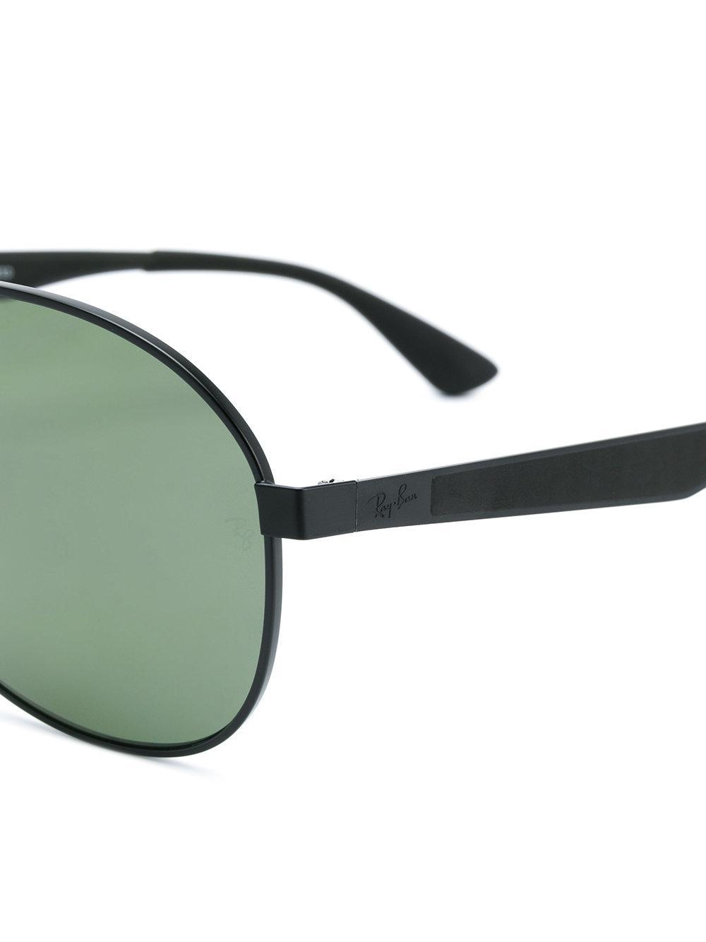 Ray-Ban Rubber Aviator Polarized Sunglasses in Black for Men