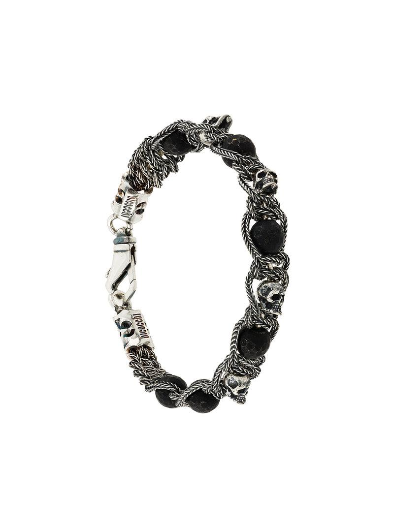 beaded and woven bracelet - Metallic Emanuele Bicocchi lDHQf