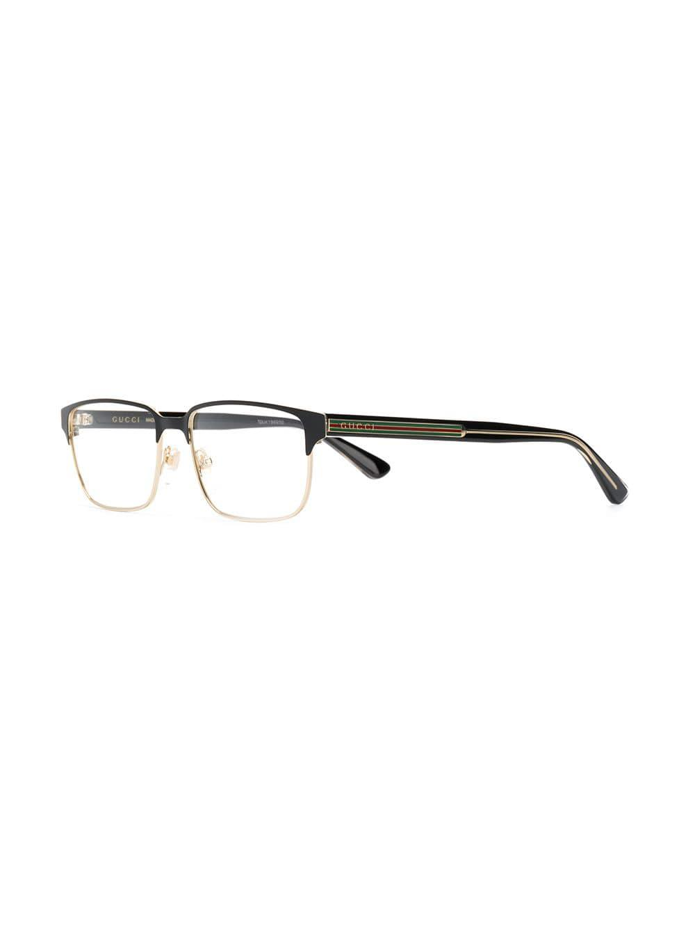 c373b10a7bf Lyst - Gucci Rectangle Frame Glasses in Black for Men