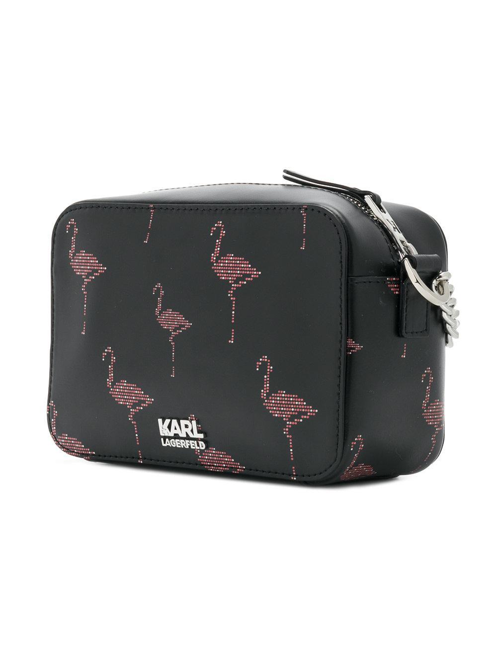 Karl Lagerfeld Leather Flamingo Print Crossbody Bag in Black