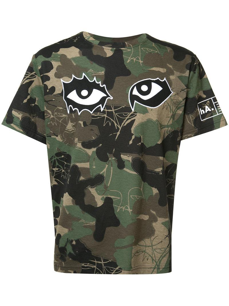 Lyst haculla camouflage print t shirt in green for men for Camouflage t shirt printing