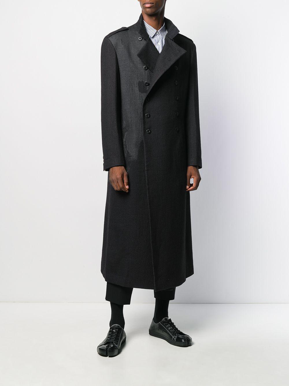 Yohji Yamamoto Wol Mantel Met Dubbele Rij Knopen in het Zwart voor heren