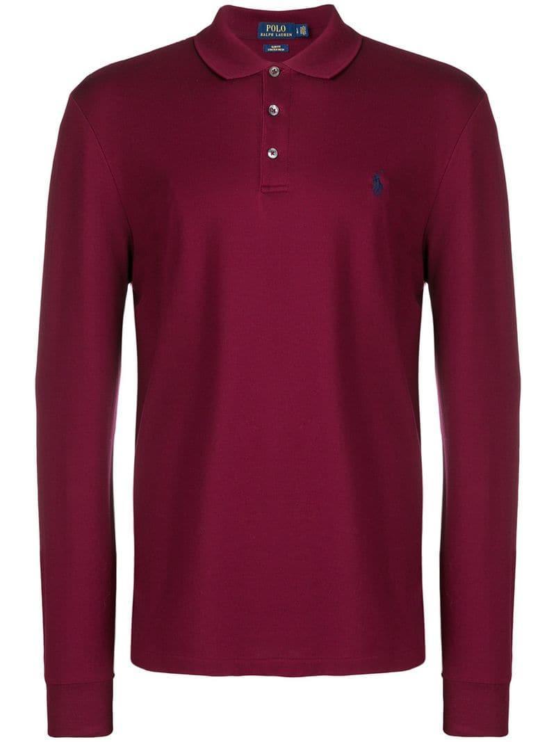 À Homme Ralph Lauren Coloris Polo Manches Rouge Longues Pour En mOn0wN8v