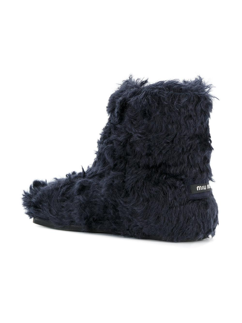 Miu Miu Cotton Eco Shearling Boots in Blue