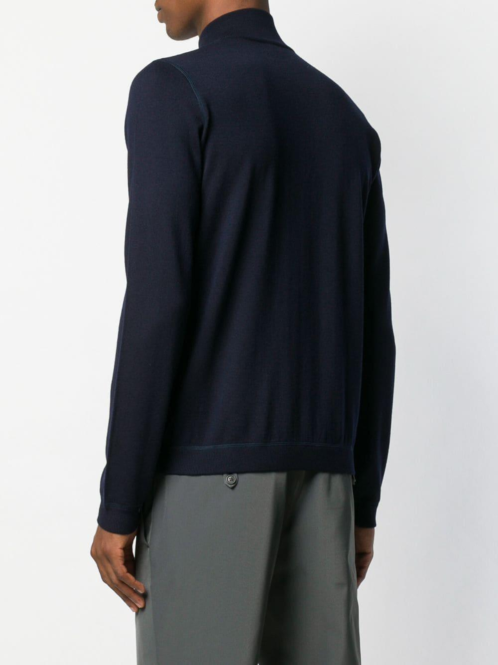 Prada Wol Vest Met Geritste Colhals in het Blauw voor heren