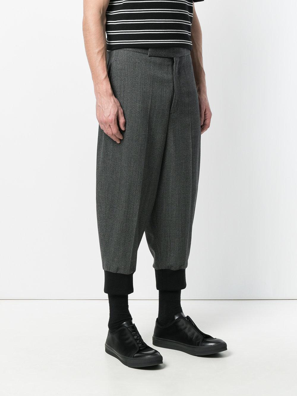 Neil Barrett Wool Herringbone Drop-crotch Trousers in Black for Men
