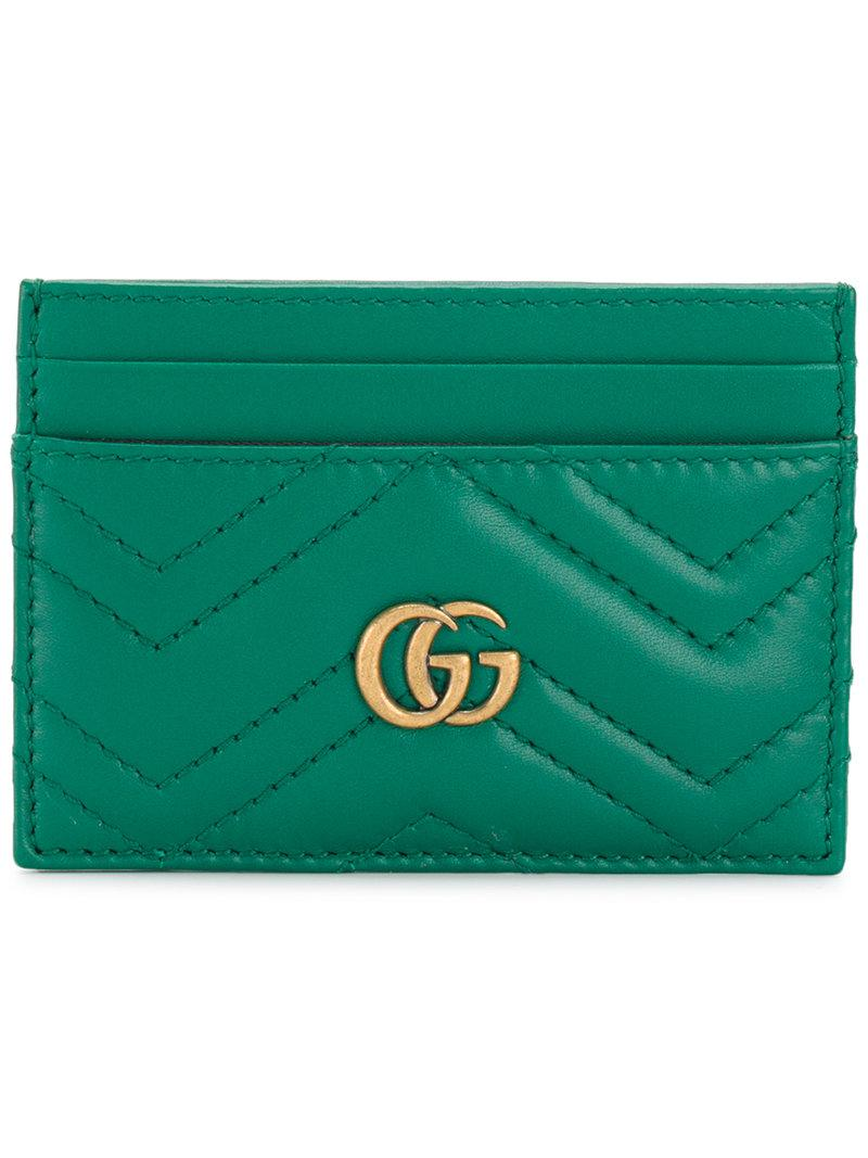 best service f7a8f 43098 Gucci Green Gg Marmont Card Holder