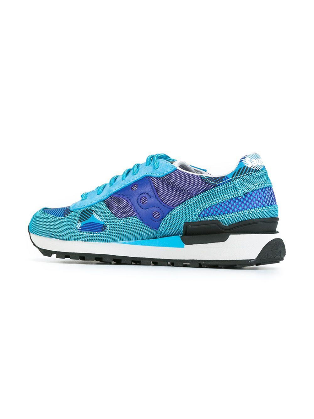 Saucony Leather Patterned Lace-up Sneakers in Blue