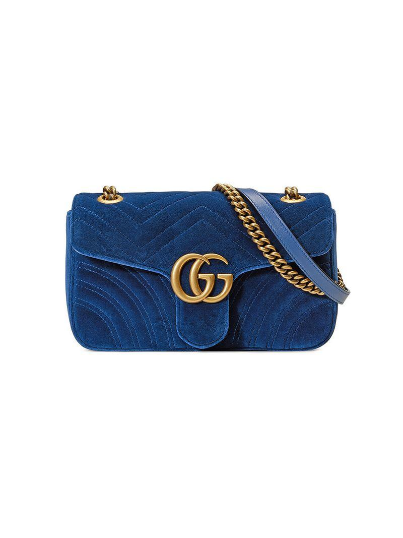 62ab79313098a8 Gucci GG Marmont Velvet Shoulder Bag in Blue - Save 33% - Lyst