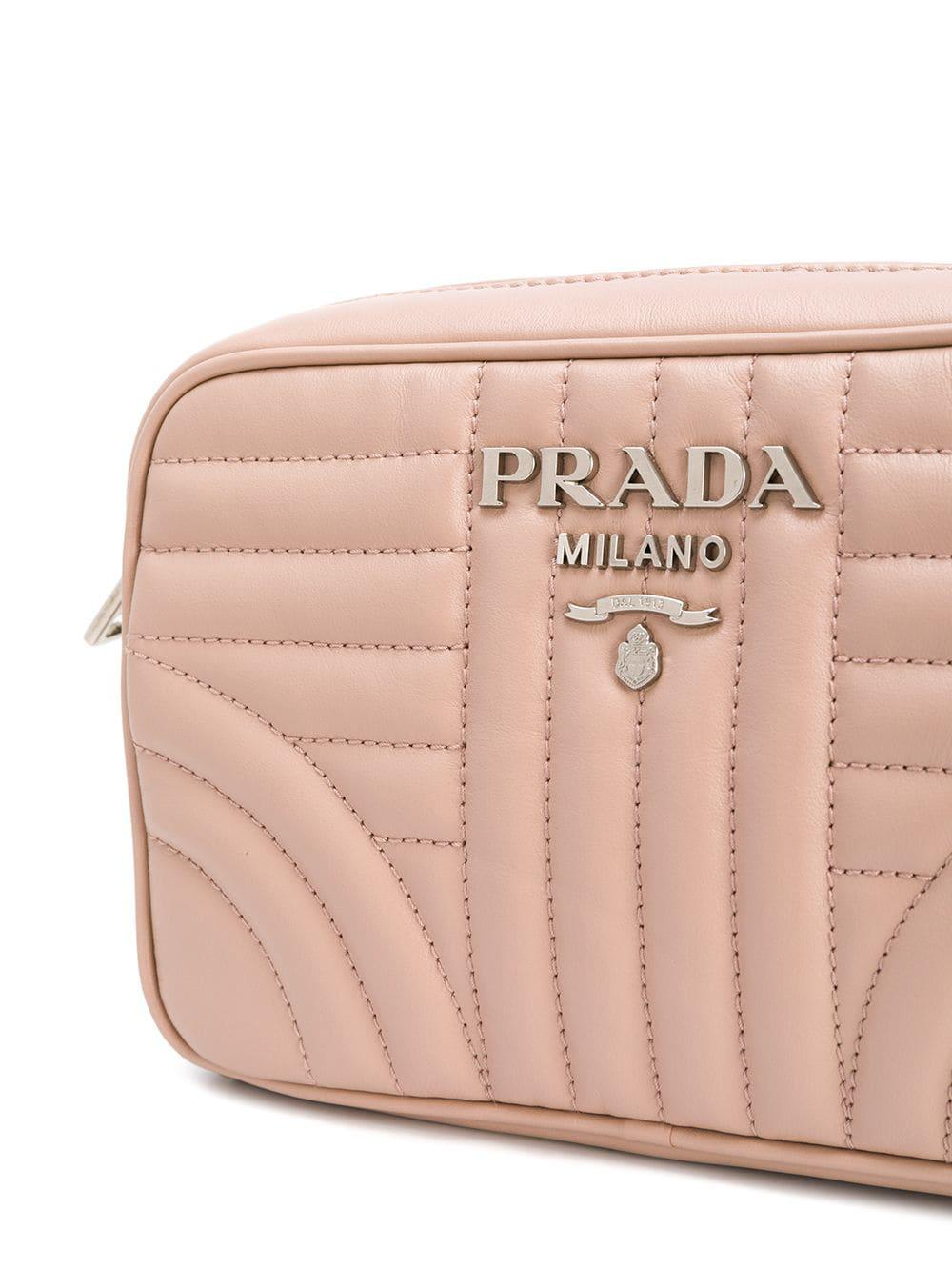 Lyst - Prada Diagramme Leather Crossbody Bag in Pink 889dca806fd3a