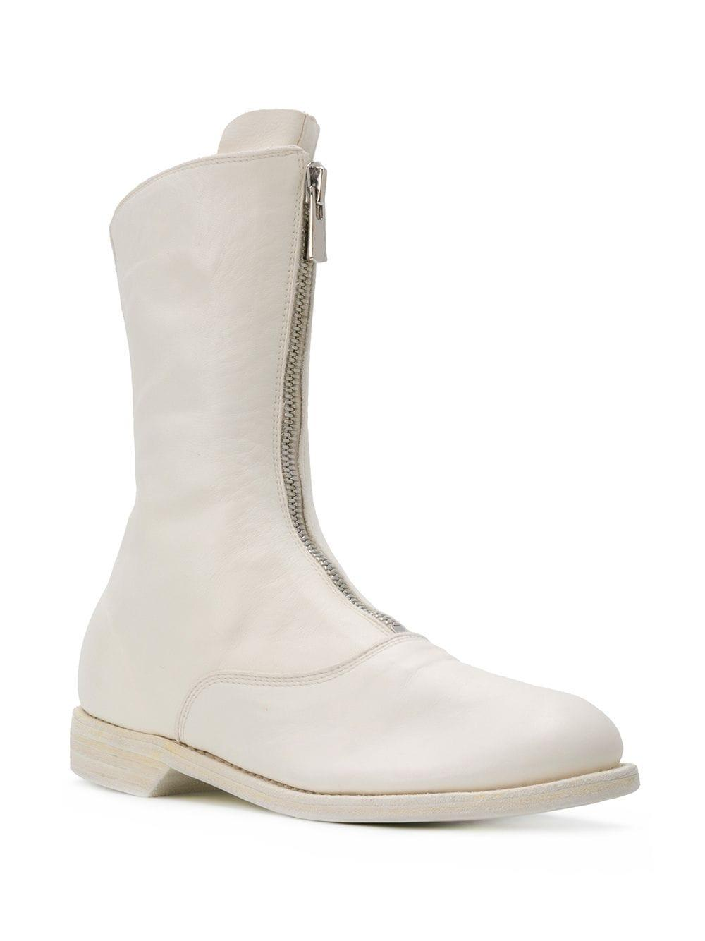 Guidi Leather Front-zip Ankle Boots in White