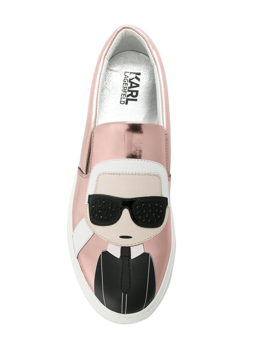 Karl Lagerfeld Rubber Kupsole Karl Ikonic Sneakers in Metallic