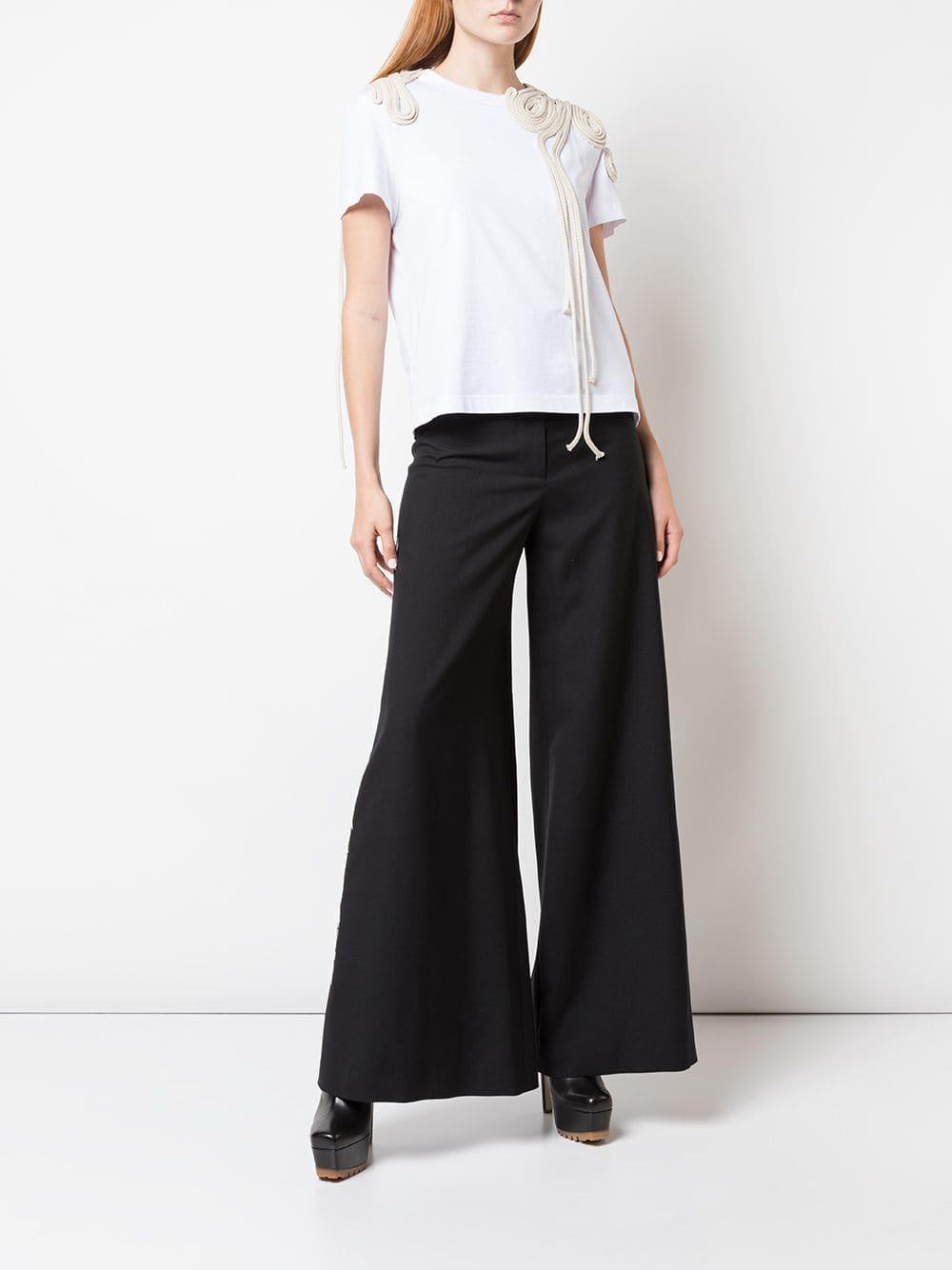 Camiseta con bordado de cuerdas Vera Wang de Algodón de color Blanco