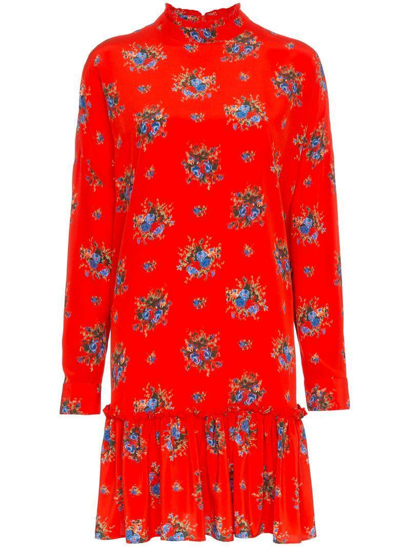 1a69e528 Ganni Kochhar Floral Mini-dress in Red - Lyst