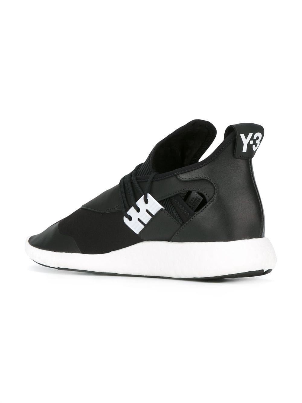 Y-3 Leather Elle Run Sneakers in Black
