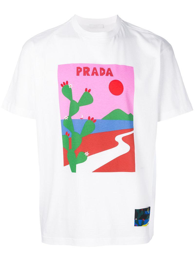 lyst prada landscape print t shirt in white for men