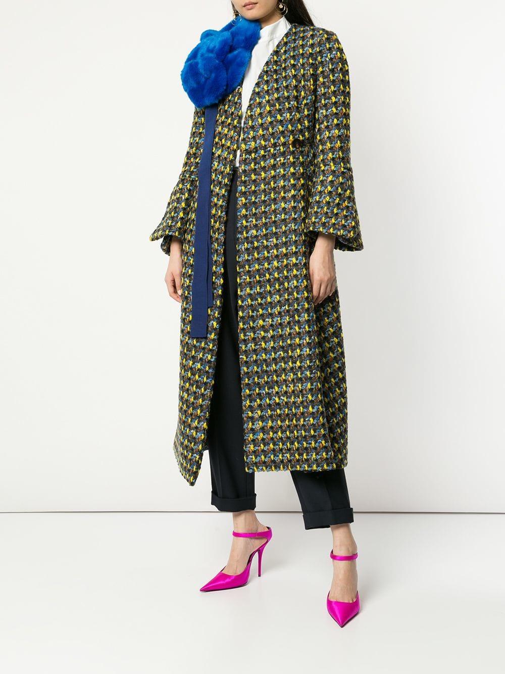 Detachable faux fur bow double breasted coat Delpozo en coloris Vert