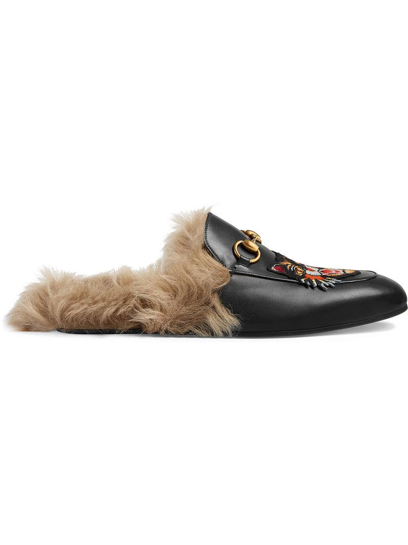 e2f13d7ed44 Lyst - Gucci Princetown Slippers With Angry Cat Appliqué in Black ...