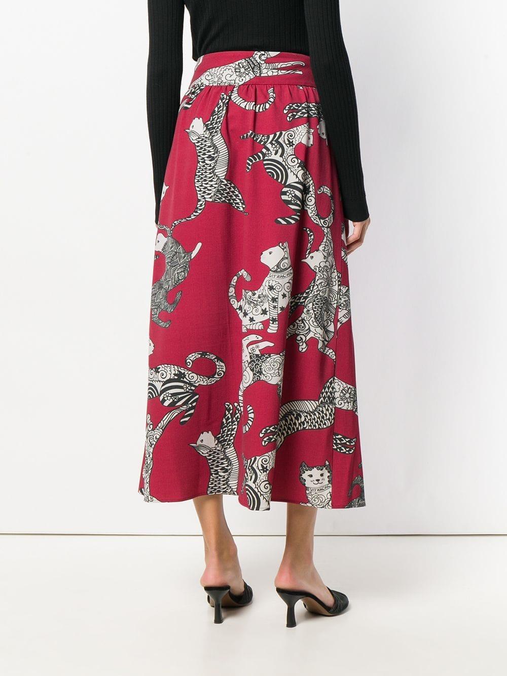 Falda con estampado de gato Ultrachic de Tejido sintético de color Rojo