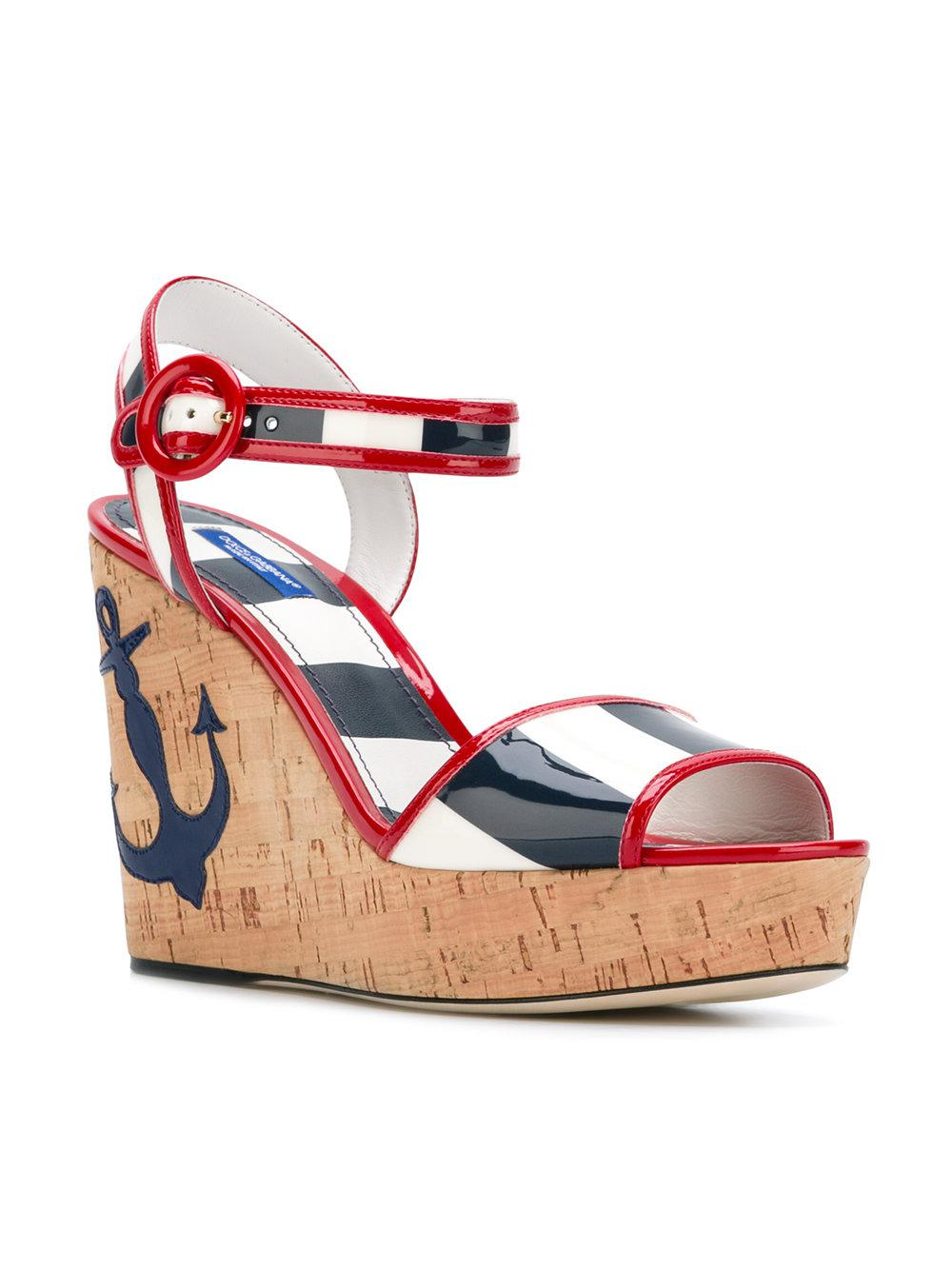 88f6d216807 Dolce   Gabbana Keira Wedge Sandals in Red - Lyst