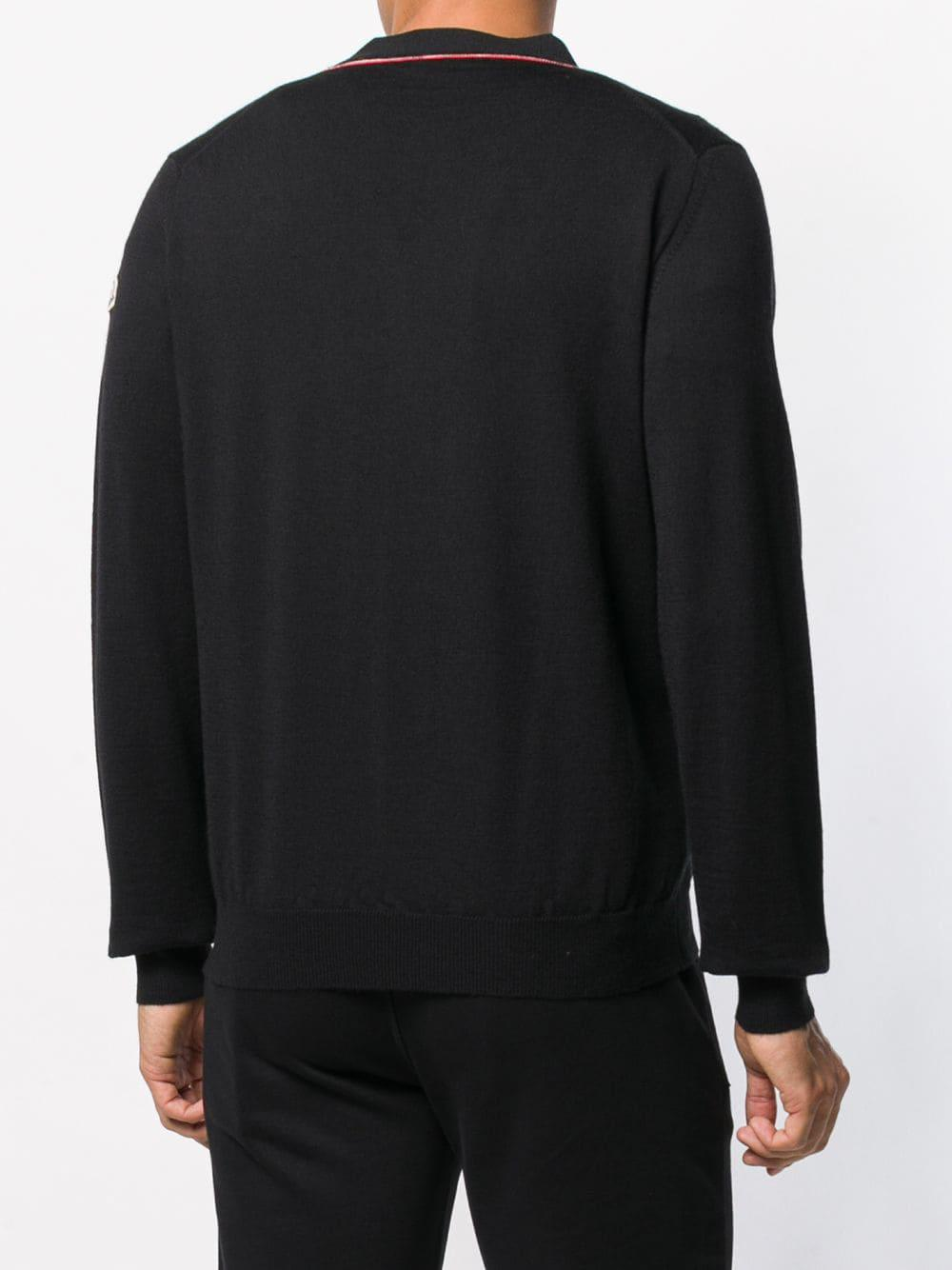 bed9f60d72 Moncler Long Sleeve Cardigan in Black for Men - Lyst