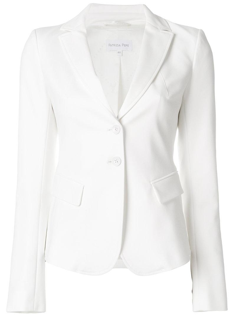 Patrizia Pepe Fitted Blazer In White Lyst