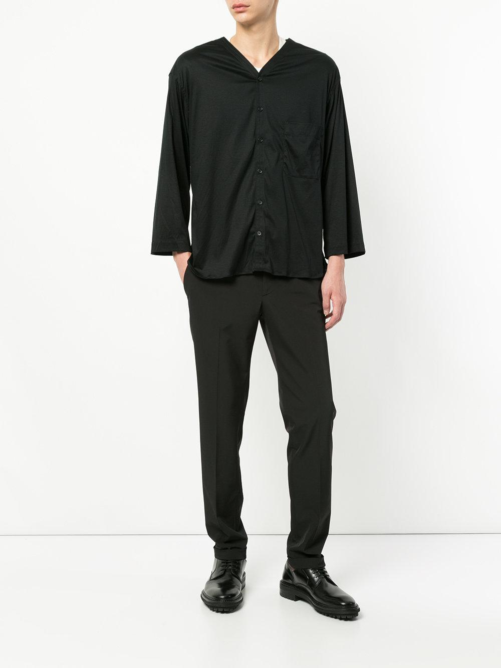 Lemaire Cotton Button-up Top in Black for Men