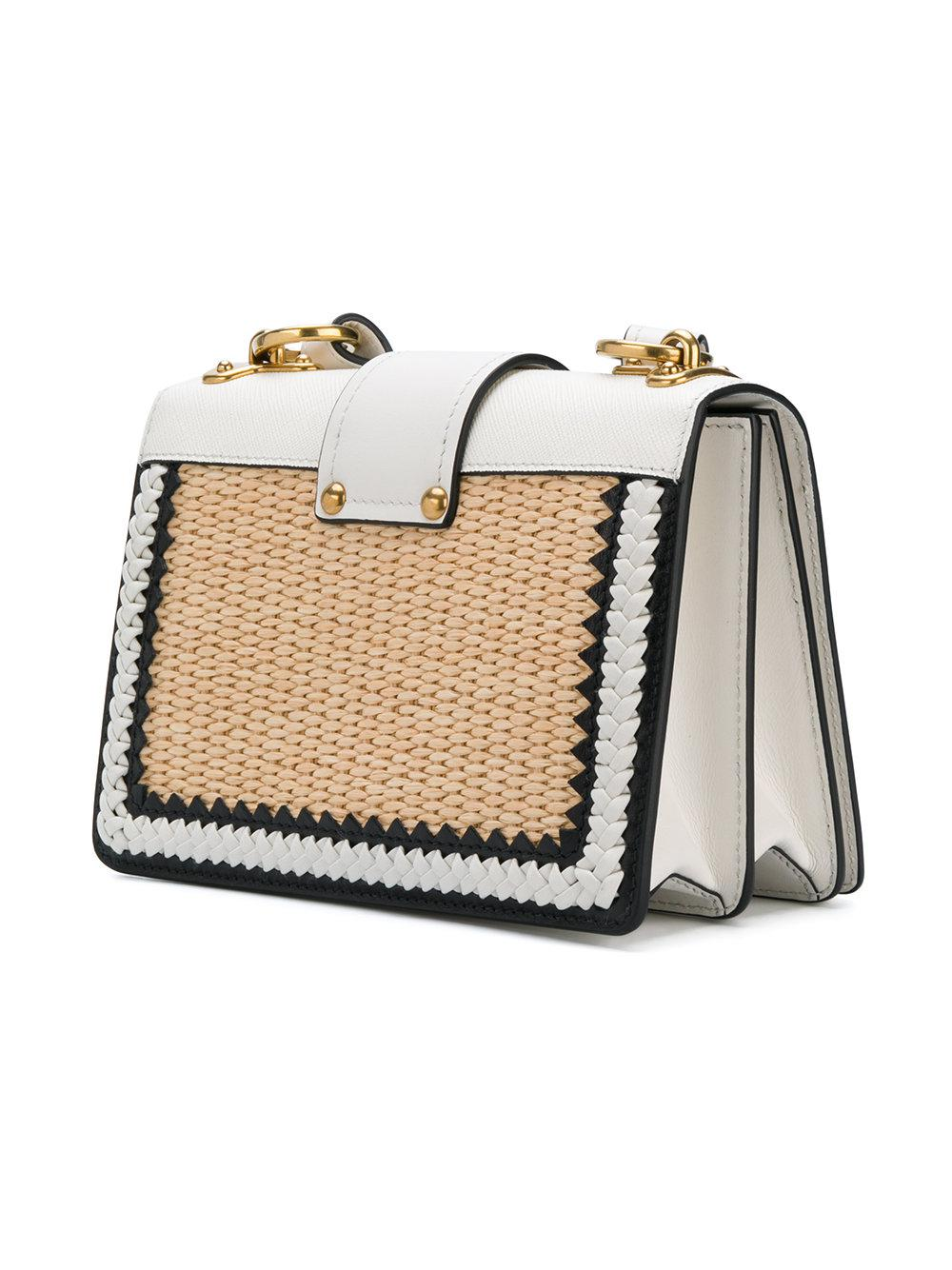 aec632dc2d4592 Prada White Raffia Cahier Shoulder Bag in White - Lyst