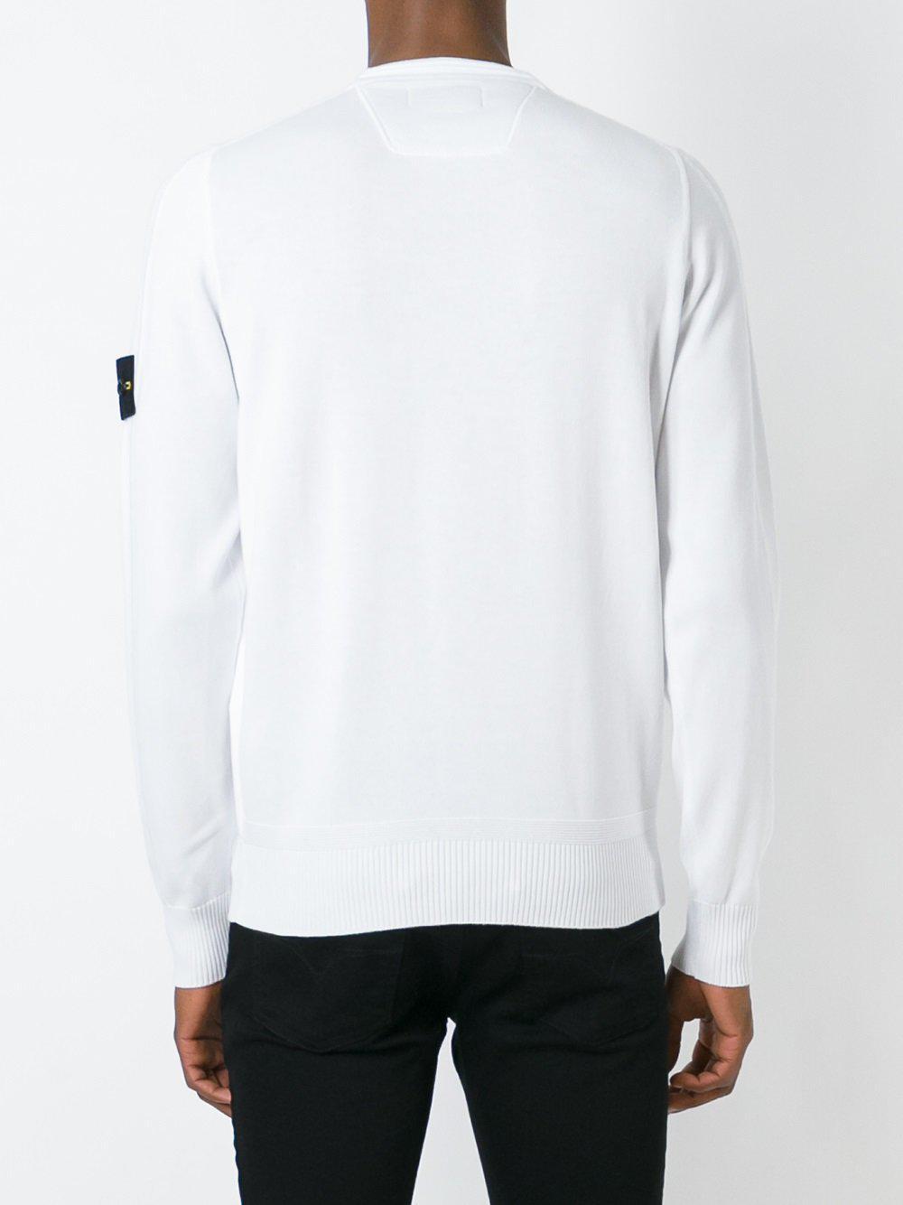 Stone Island Cotton Crew Neck Jumper in White (Black) for Men