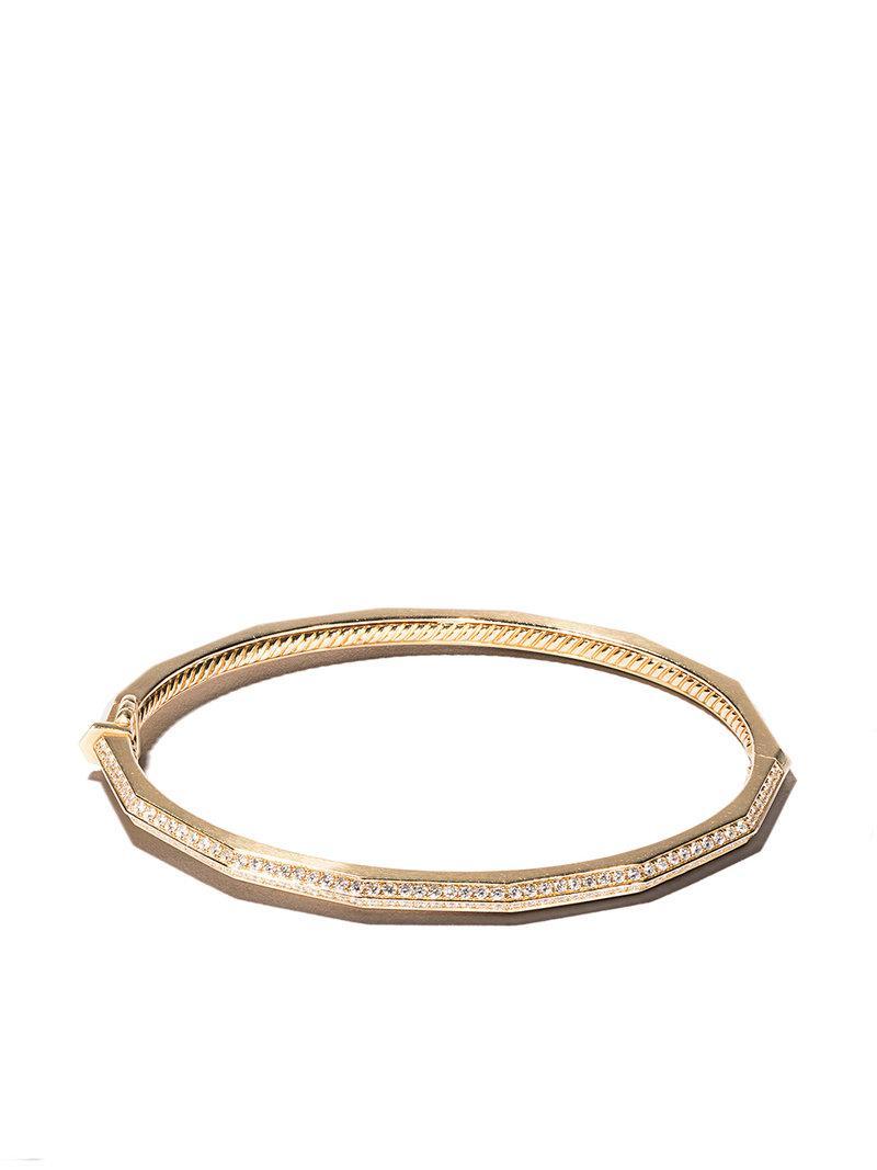 David Yurman 18kt yellow gold Stax faceted diamond bangle - Metallic OqDDCpP