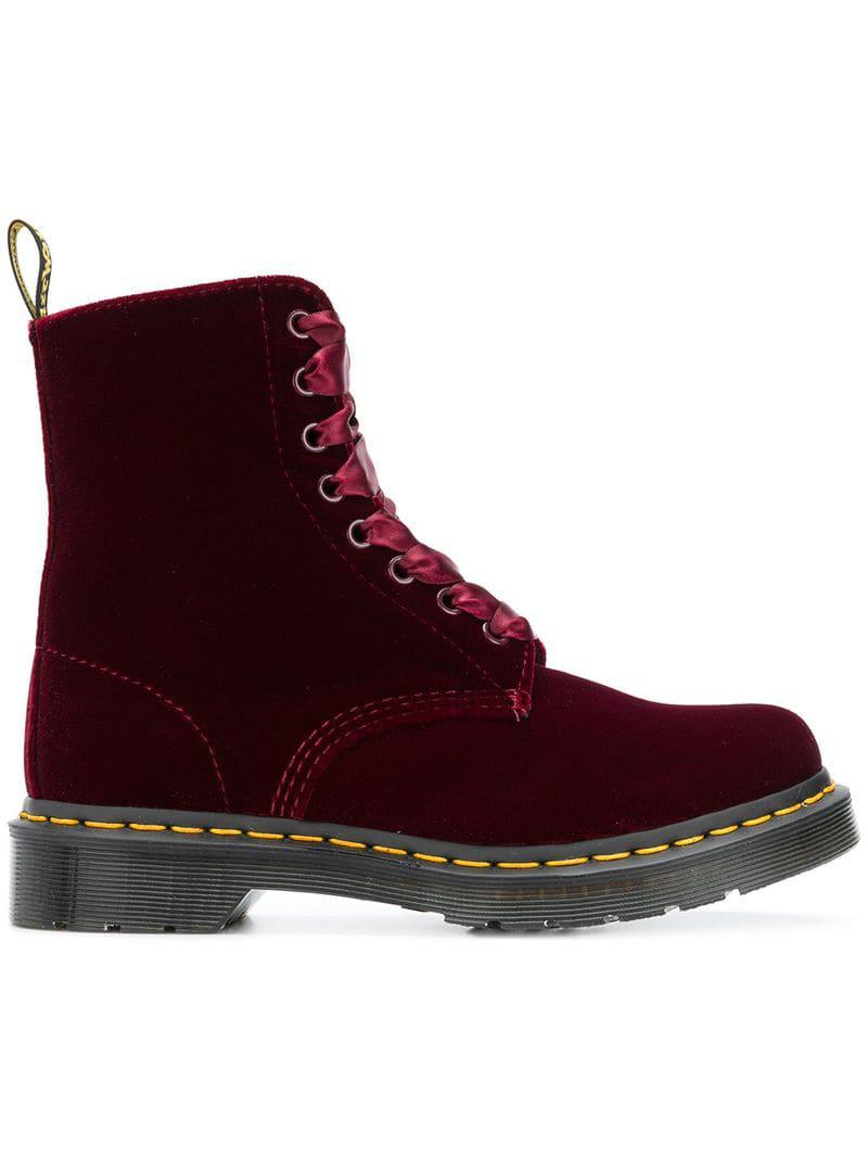Red Velvet '1460 Pascal' Lace Up Boots