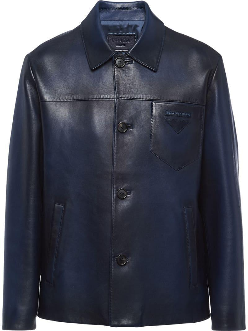 3654cc95152a Prada Waxed Leather Jacket in Blue for Men - Lyst