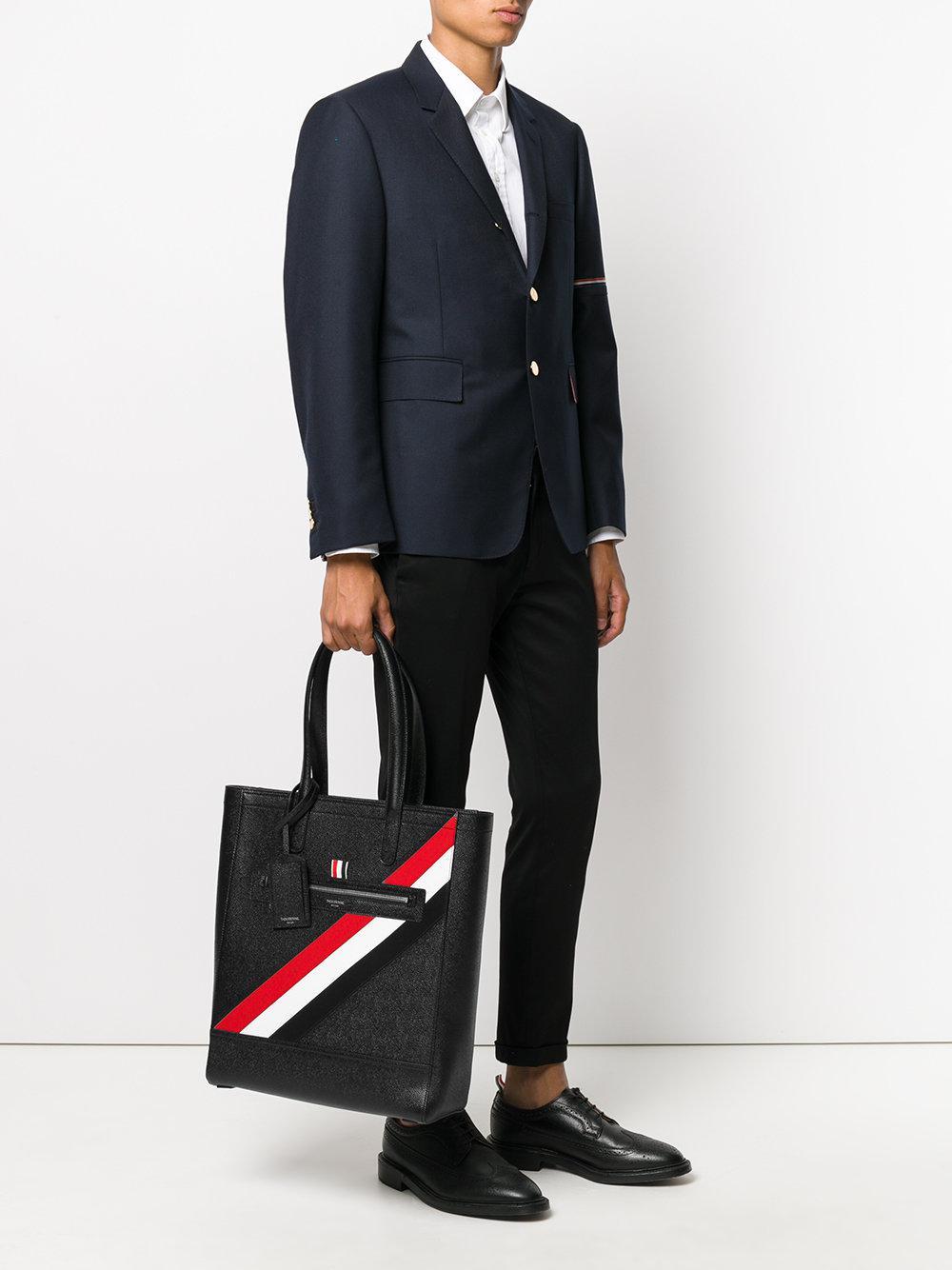 Thom Browne Leather Signature Tri-stripe Tote Bag in Black