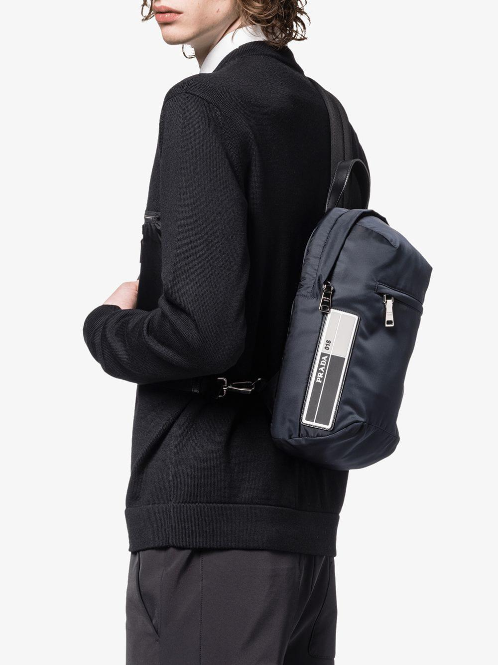 90ea619a70 Prada - Blue Nylon One-shoulder Backpack for Men - Lyst. View fullscreen