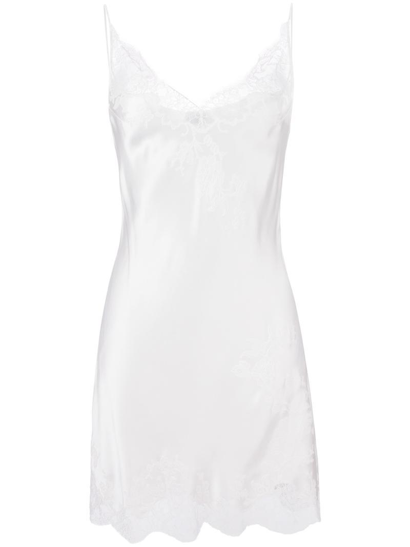 c6b0d0c02355 Carine Gilson Lace V-neck Slip in White - Lyst