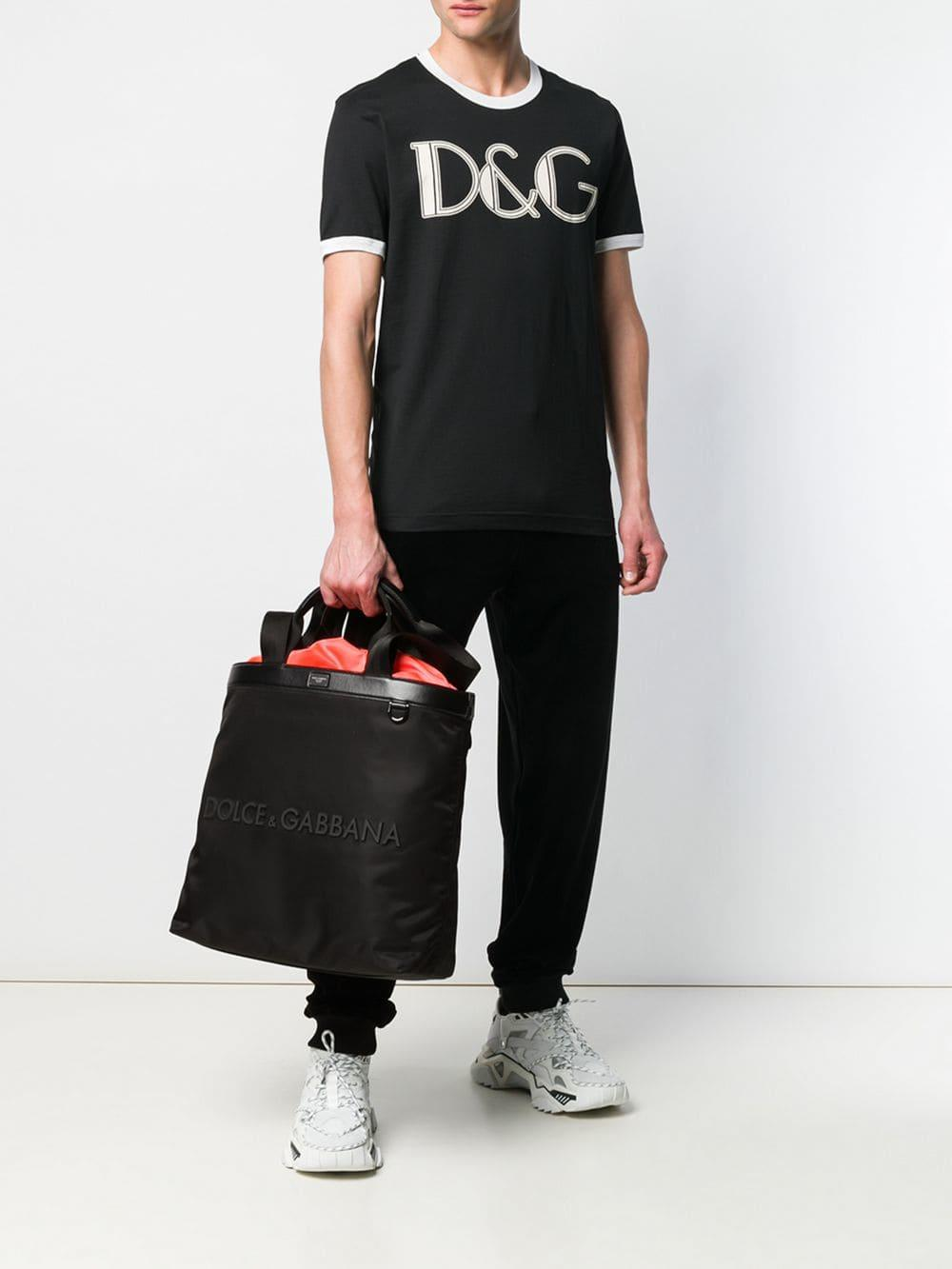 Dolce   Gabbana - Black Rubberised Logo Shopping Bag for Men - Lyst. View  fullscreen 895e22ac5f413