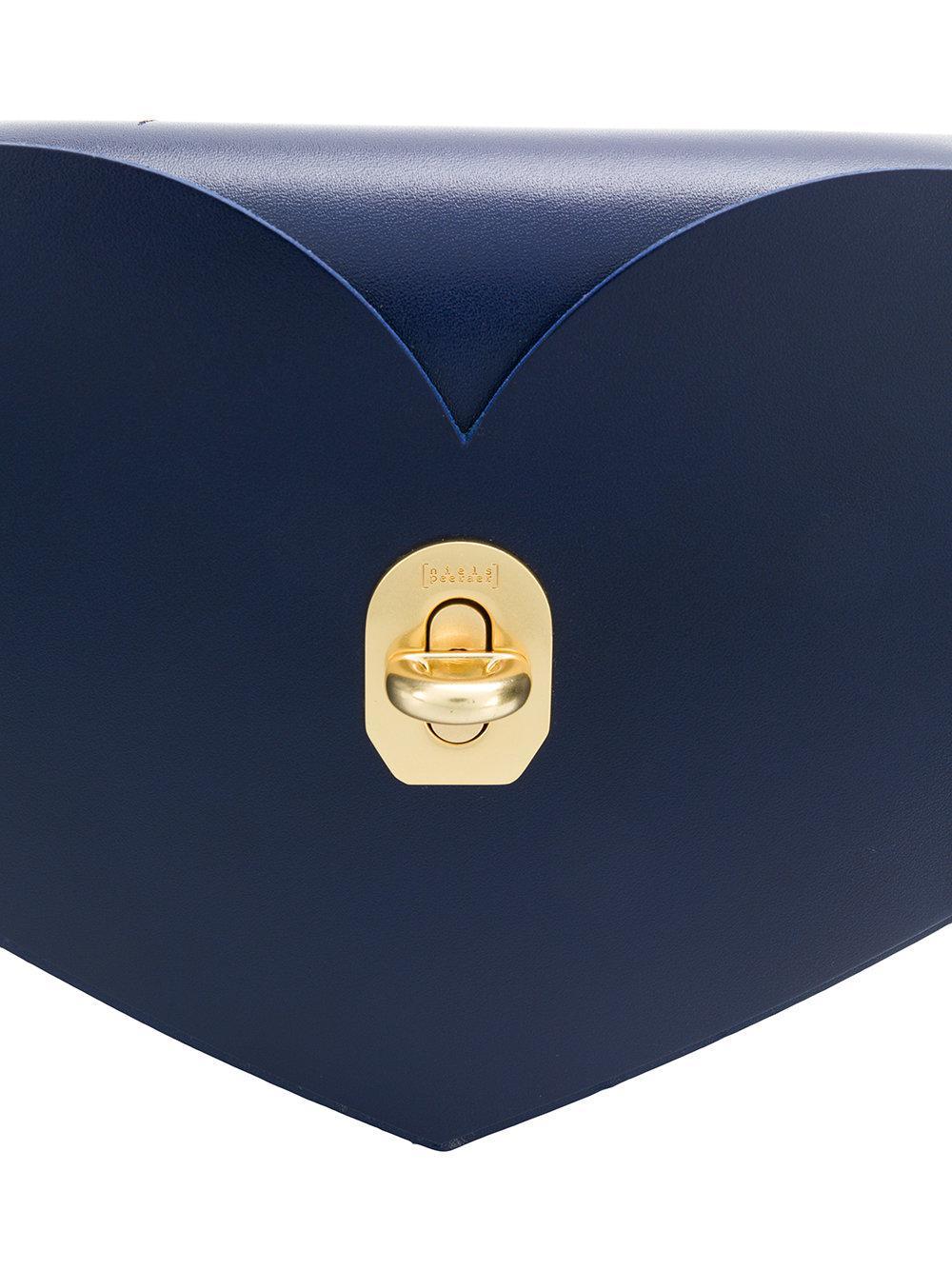 Niels Peeraer Leather Heart Crossbody Bag in Blue