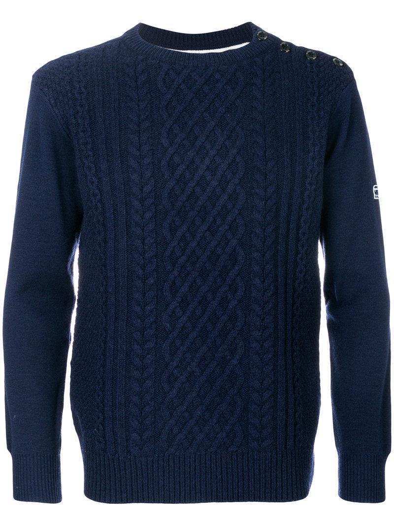 lyst g star raw contrast back sweater in blue for men. Black Bedroom Furniture Sets. Home Design Ideas