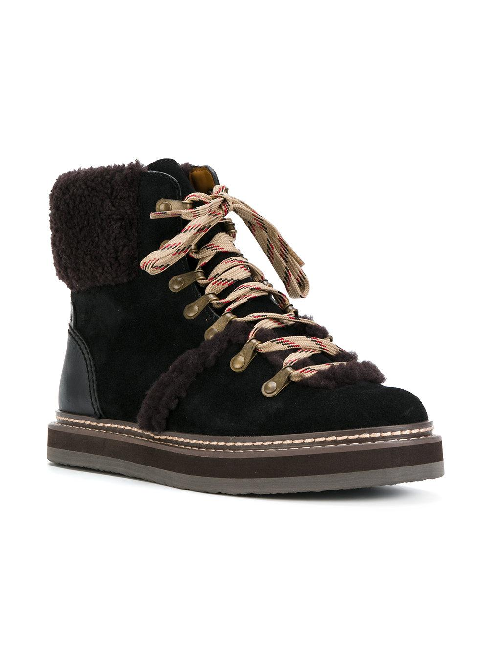 See By Chloé Suede Eileen Flat Shearling Boots in Nero (Black)