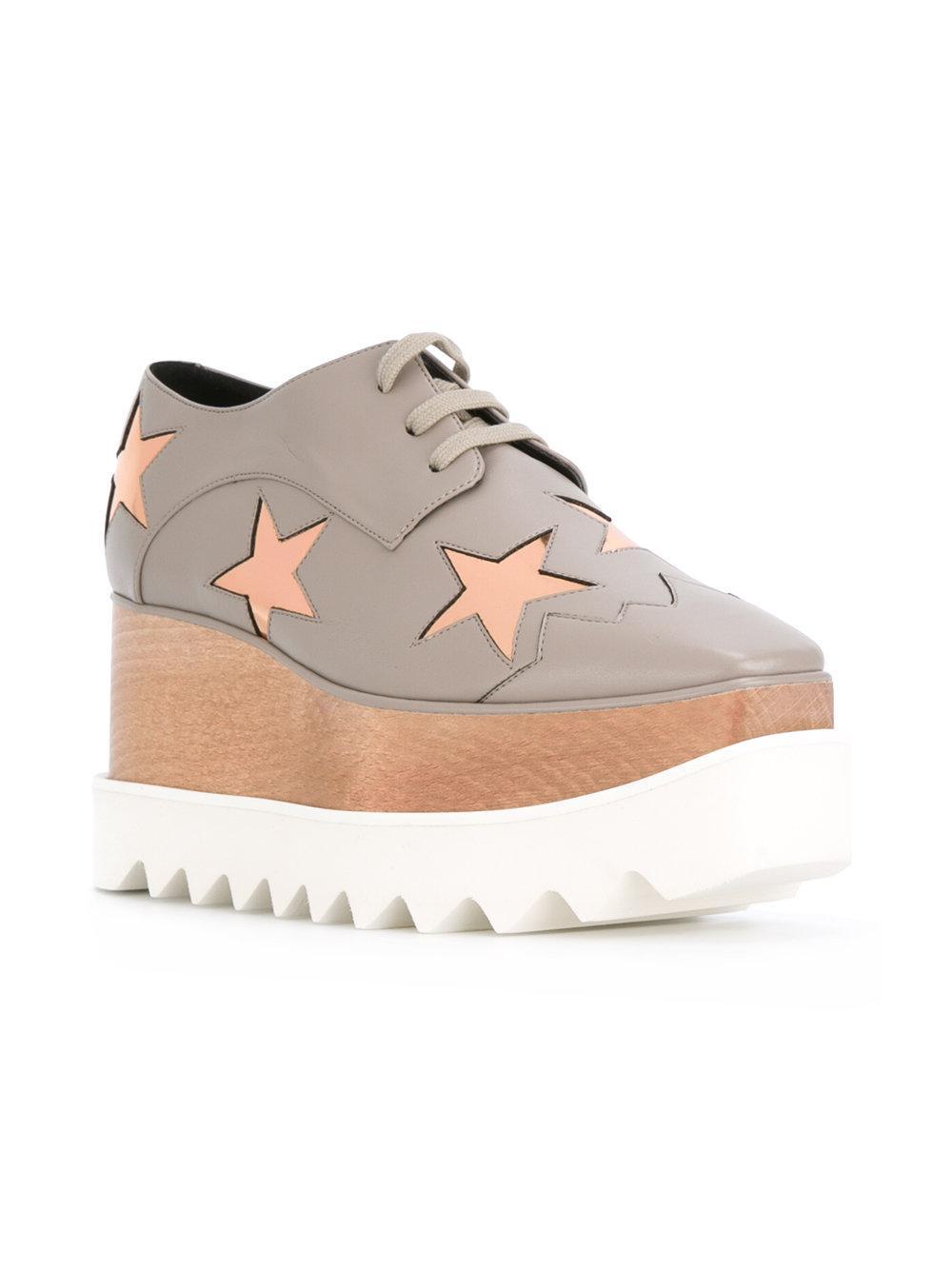 Stella McCartney Leather Star Patch Platform Trainers in Grey (Grey)