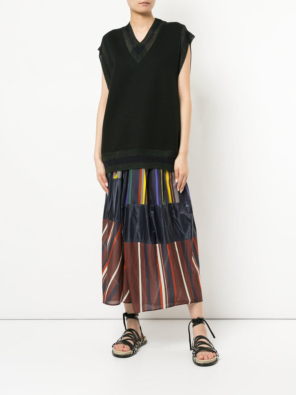 5455f53bc0 Lyst - Kolor Striped Wrap Maxi Skirt in Blue
