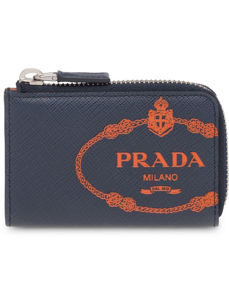 59a274baf563 Prada Saffiano Leather Card Holder in Blue for Men - Lyst