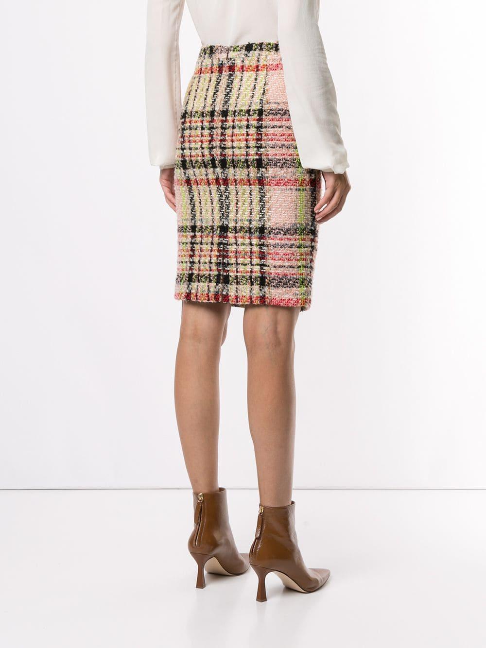 Falda de tubo de tweed a cuadros Andrew Gn de Lana