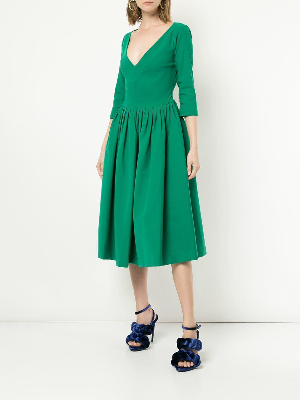 Vestido con escote pronunciado Preen By Thornton Bregazzi de Tejido sintético de color Verde
