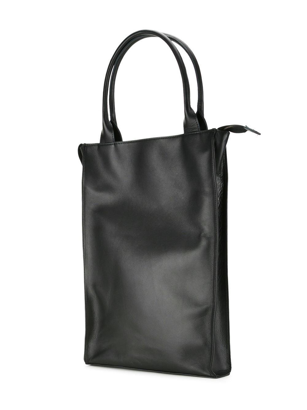 HL Heddie Lovu Leather Zip Up Shopper in Black