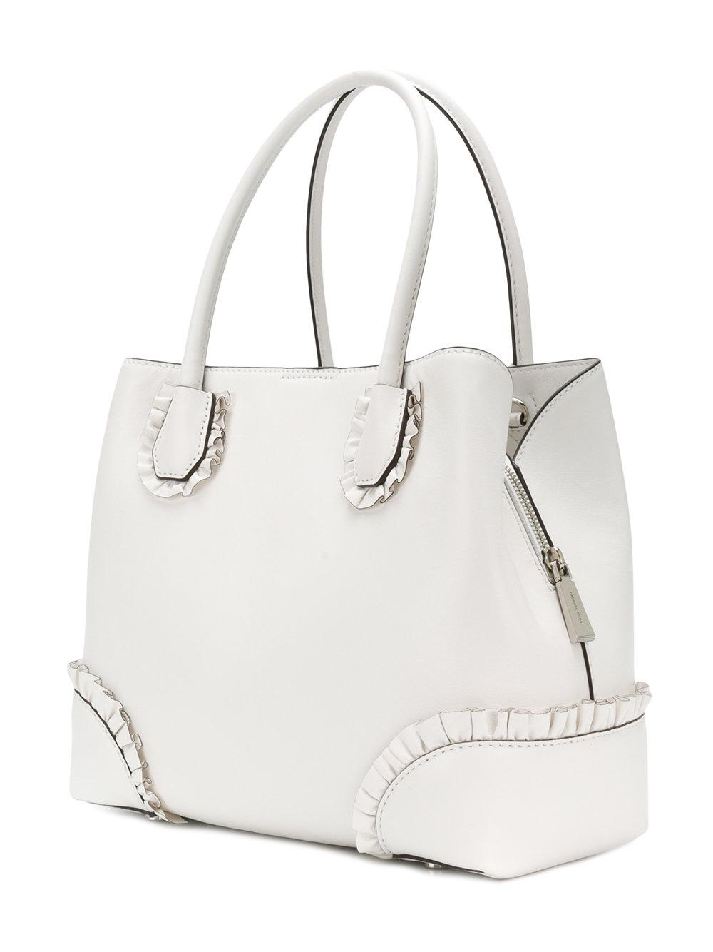 MICHAEL Michael Kors Leather Mercer Gallery Large Tote in White