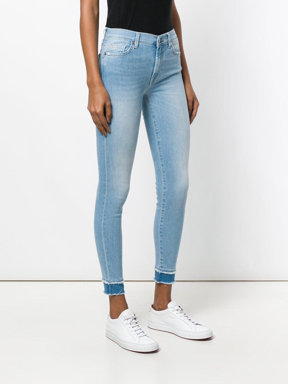 7 For All Mankind Denim 7stretch Contrast Hem Skinny Jeans in Blue